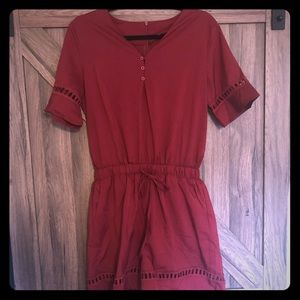Wine Red V neck waist lace-up romper